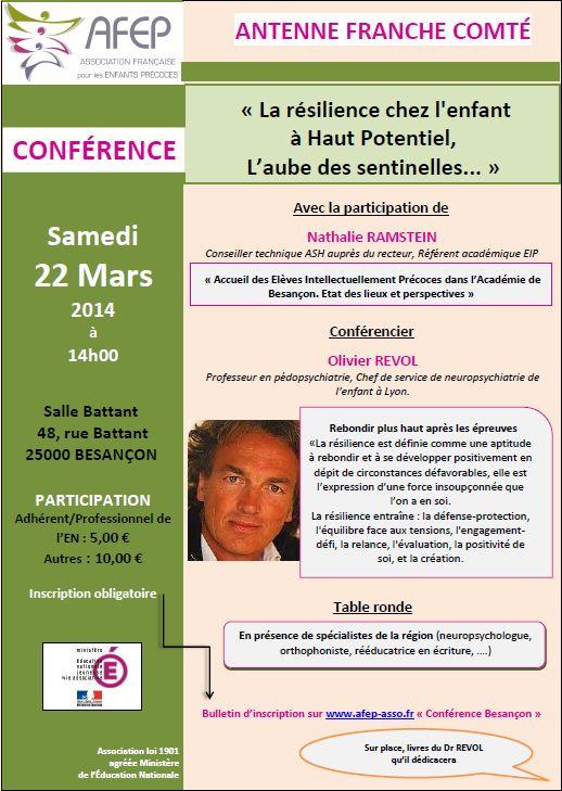 Conférence AFEP Besançon, le 22 mars 2014, avec bulletin de participation (en PDF)