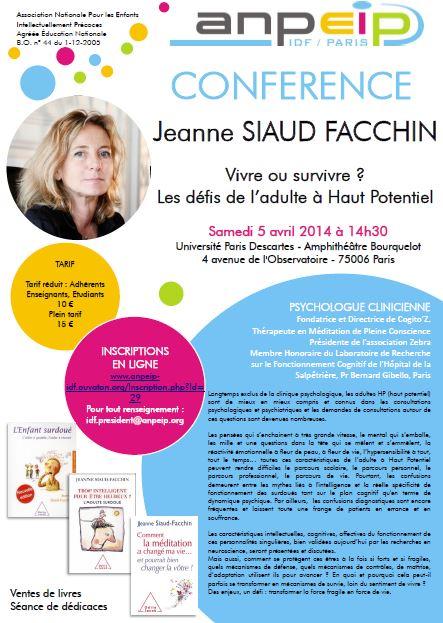 [CONFÉRENCE] de Jeanne Siaud-Facchin, sur Paris :