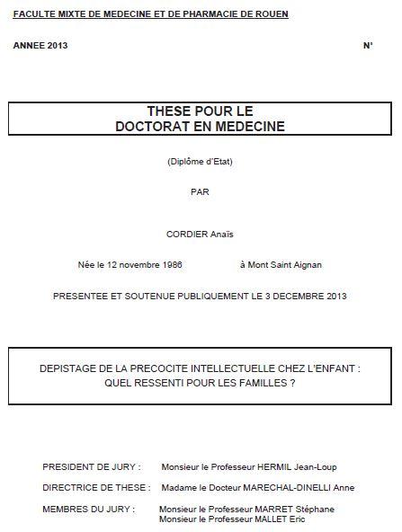 Thèse du Dr Anaïs Cordier (cliquez pour ouvrir, en PDF)