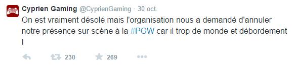 Annulation du stand CyprienGaming à la PGW