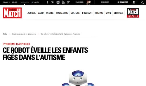 """""""Ce robot éveille les enfants figés dans l'autisme"""" (Paris-Match)"""