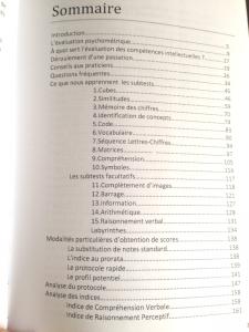 Sommaire - partie 1 - du livre sur le Wisc-IV (cliquez pour ouvrir)