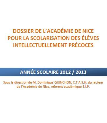 Scolarisation des EIP, académie de Nice (cliquez pour ouvrir en PDF)