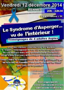 """[CONFÉRENCE-TÉMOIGNAGE] de 4 Aspies : """"le syndrome d'Aspeger... vu de l'intérieur"""""""