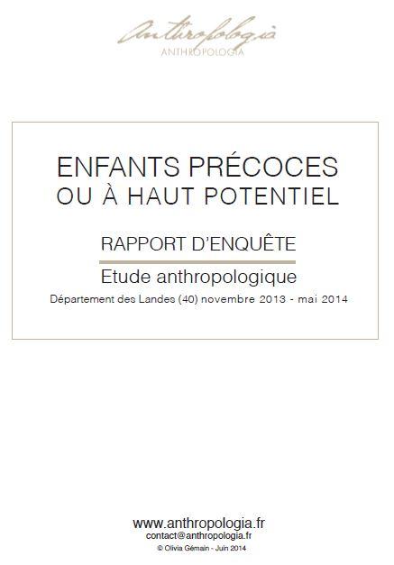 Étude anthropologique sur les enfants précoces ou à haut potentiel (cliquez pour ouvrir en PDF)