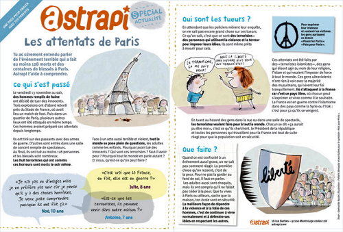 Document réalisé par le magazine Astrapi pour parler des attentats de Paris avec votre enfant (cliquez pour ouvrir au format PDF)