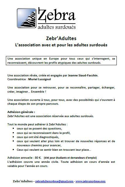 Naissance de l'association Zebr'adultes (cliquez pour ouvrir en PDF)