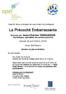 L'affiche de la conférence de Jean-Charles Terrassier à Évian (cliquez pour ouvrir en grand format)