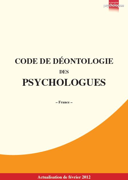 Code de déontologie des psychologues, version 2012 (cliquez pour ouvrir au format PDF)