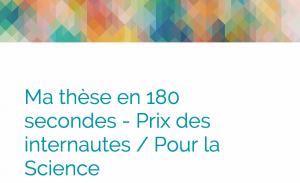 « Ma thèse en 180 secondes », prix des internautes (PourLaScience, mai 2015)