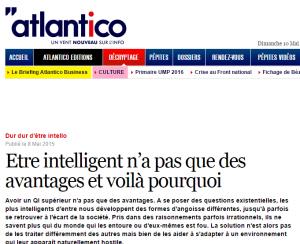 Etre intelligent n'a pas que des avantages et voilà pourquoi (Atlantico, mai 2015)