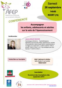 Conférence AFEP sur Niort, avec Jeanne Siaud-Facchin (cliquez pour ouvrir en grand format)