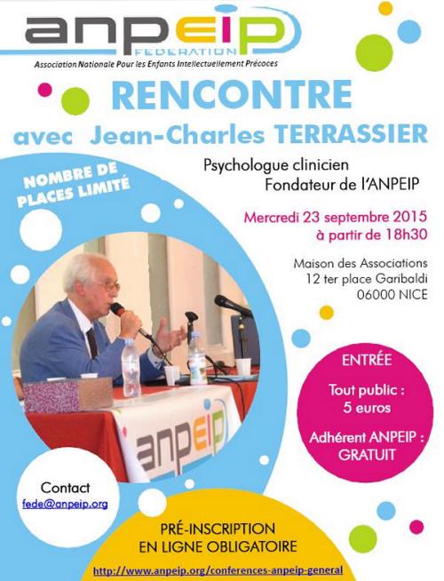 Le mercredi 23 septembre, rencontre ANPEIP tout à fait exceptionnelle avec le psychologue Jean-Charles Terrassier
