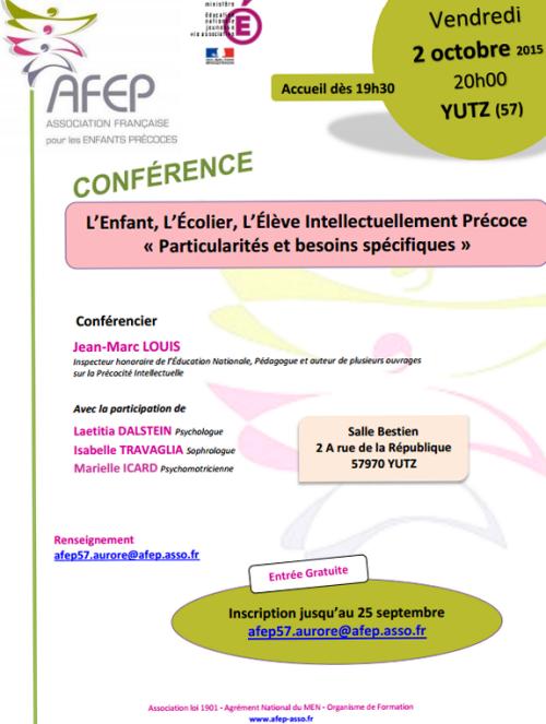Conférence AFEP à Yutz, inscription jusqu'au 25 septembre 2015