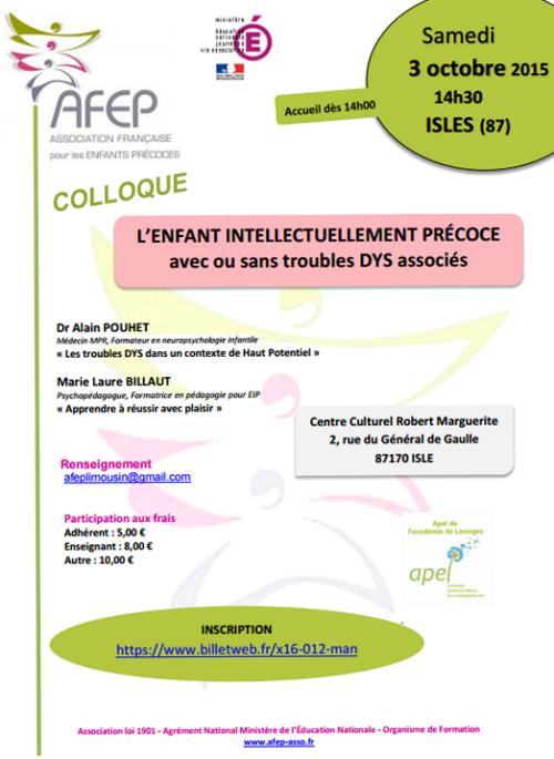 """Le samedi 03 octobre, colloque AFEP : """"L'enfant intellectuellement précoce, avec ou sans troubles DYS associés"""""""