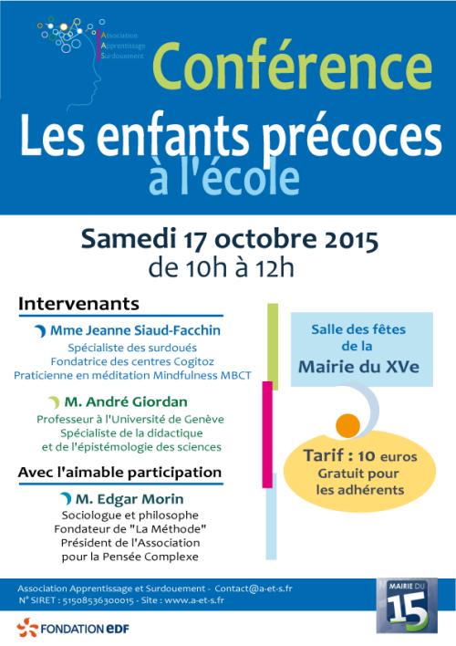 """""""Les enfants précoces à l'école"""", conférence organisée par l'AAS sur Paris"""
