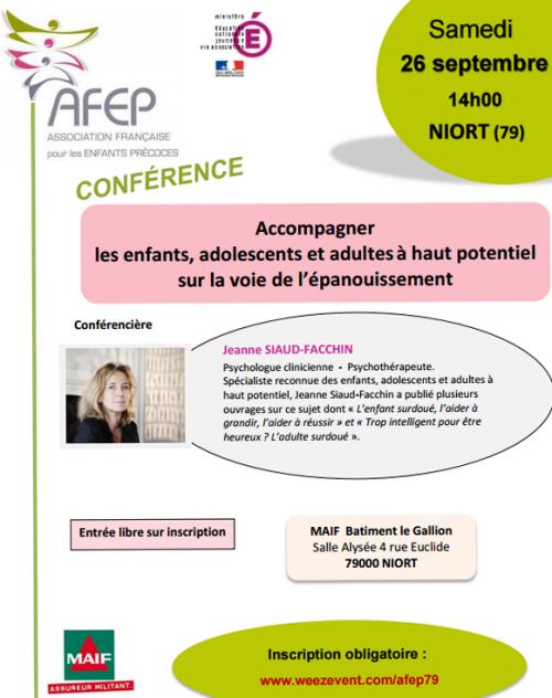 """Conférence à Niort : """"Accompagner les enfants, adolescents et adultes à haut potentiel sur la voie de l'épanouissement"""""""