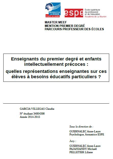 Enseignants du premier degré & enfants intellectuellement précoces : quelles représentations enseignantes sur ces élèves à besoins éducatifs particuliers ?