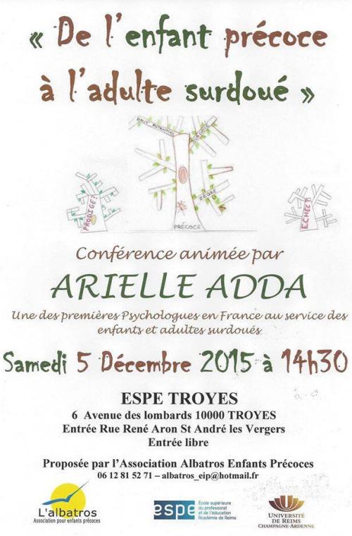 [CONFÉRENCE] d'Arielle Adda « De l'enfant précoce à l'adulte surdoué »