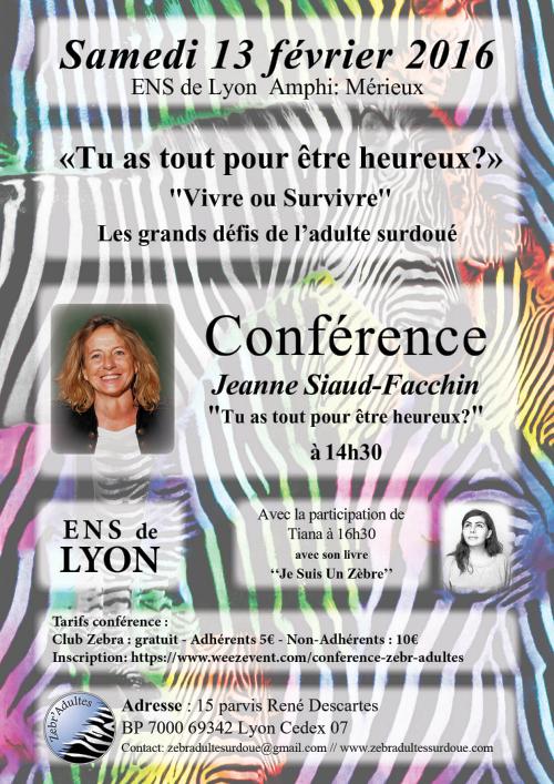 [CONFÉRENCE] annuelle de Zebr'Adultes à Lyon : « Tu as tout pour être heureux ? »