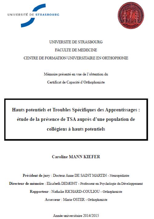 Mémoire de fin d'études de Caroline Mann Kiefer (cliquez pour ouvrir, au format PDF)
