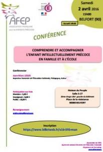 """[CONFÉRENCE] AFEP à Belfort : """"Comprendre & accompagner l'Enfant Intellectuellement Précoce en famille & à l'école"""""""