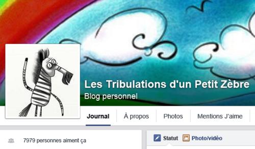 Capture d'écran de la page Les Tribulations d'un Petit Zèbre à 7 979 likes :)