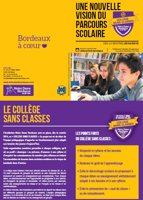 Le collège sans classes de Notre Dame de Bordeaux (cliquez pour ouvrir en PDF)