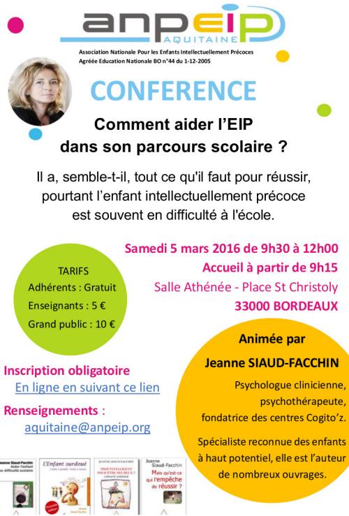 [CONFÉRENCE] ANPEIP sur Bordeaux avec la psychologue Jeanne Siaud-Facchin