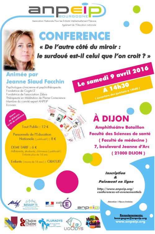 [CONFÉRENCE] ANPEIP sur Dijon avec la psychologue Jeanne Siaud-Facchin