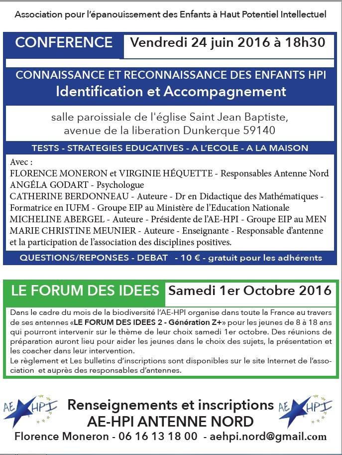 """[CONFÉRENCE] à Dunkerque : """"Connaissance & reconnaissance des enfants HPI"""""""