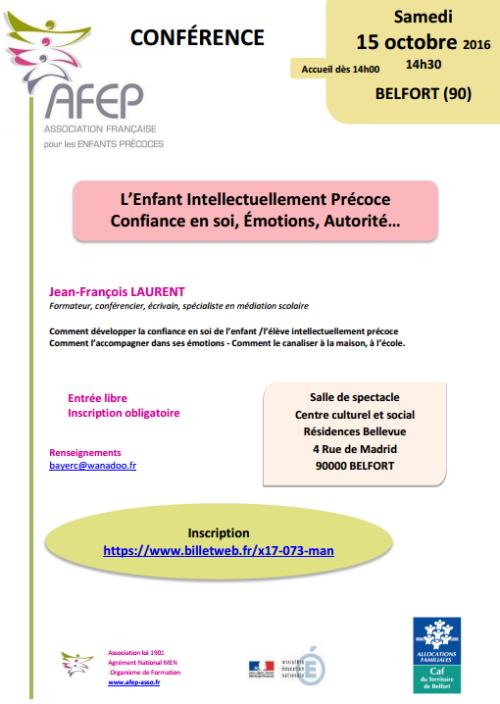 """[CONFÉRENCE] AFEP à Belfort : """"L'Enfant Intellectuellement Précoce Confiance en soi, Émotions, Autorité…"""""""