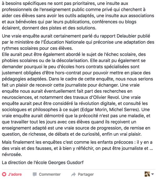 Edito école Georges Gusdorf