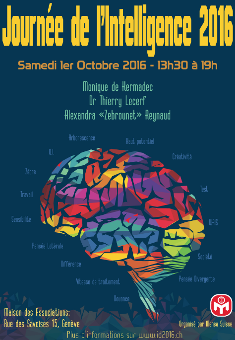 [CONFÉRENCE] « INTELLIGENCE DAY » à Genève par MENSA Suisse, le samedi 1er octobre 2016