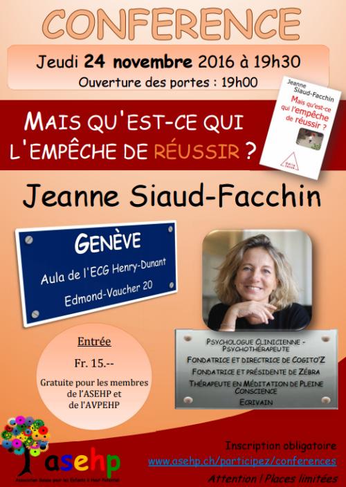 Conférence de J. Siaud-Facchin à Genève