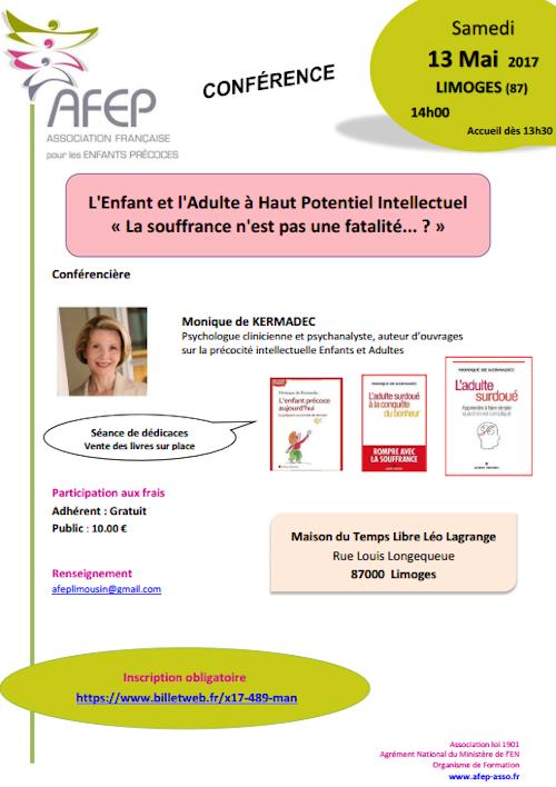 [CONFÉRENCE] AFEP de Monique de Kermadec à Limoges : L'Enfant & l'Adulte à Haut Potentiel Intellectuel « La souffrance n'est pas une fatalité... ? »